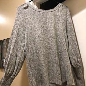 LOFT • Gray Speckled Bell-Sleeve Sweater